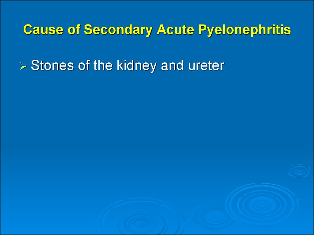 Cause of Secondary Acute Pyelonephritis