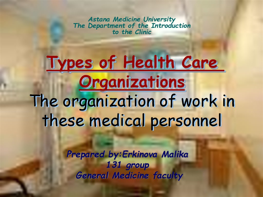 Types of Health Care Organizations The organization of work in these medical personnel