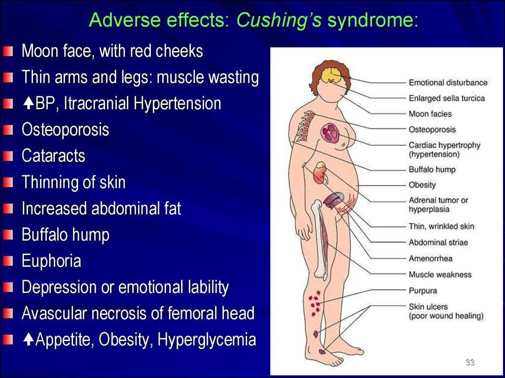 cushing syndrome Webmd looks at the causes, symptoms, and treatment of cushing's syndrome, a condition in which your body produces too much of the hormone cortisol.