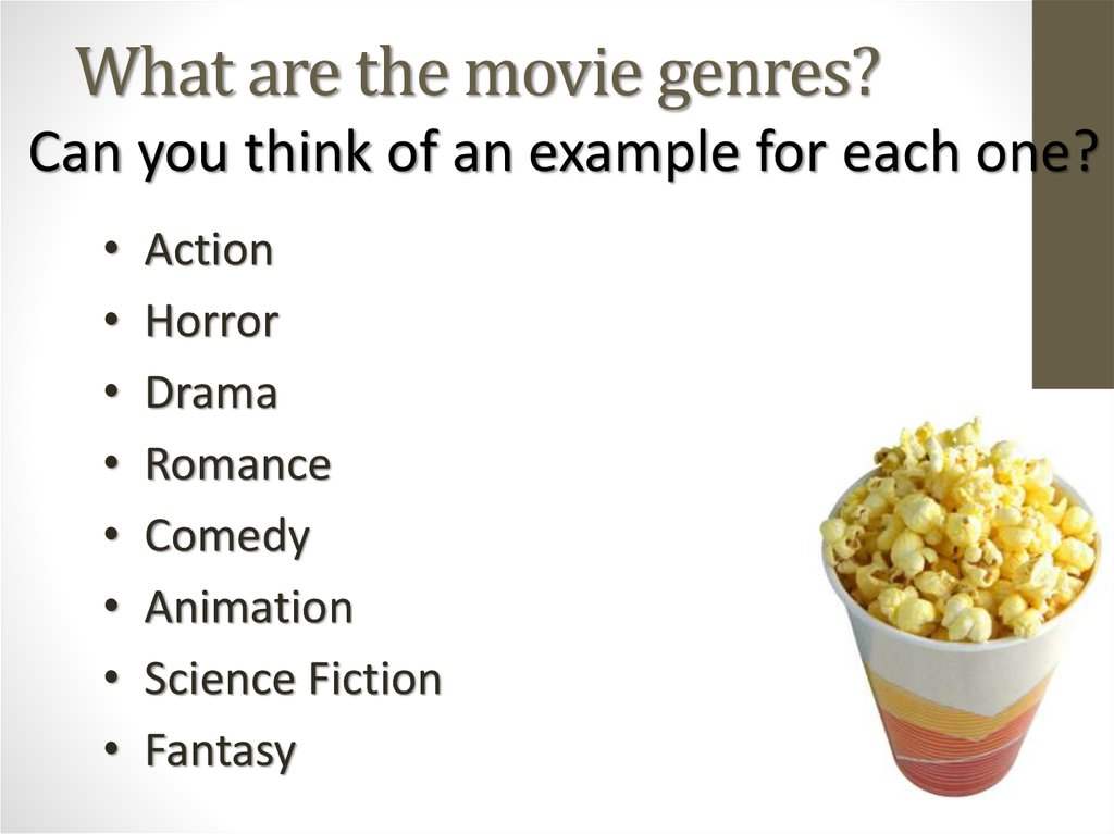 What are the movie genres?