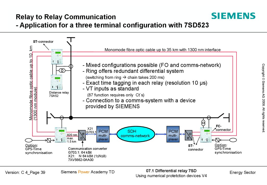 Relay to Relay Communication - Application for a three terminal configuration with 7SD523
