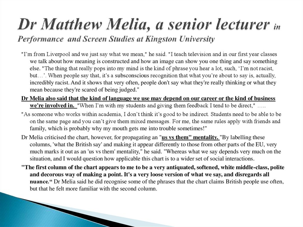 Dr Matthew Melia, a senior lecturer in Performance and Screen Studies at Kingston University