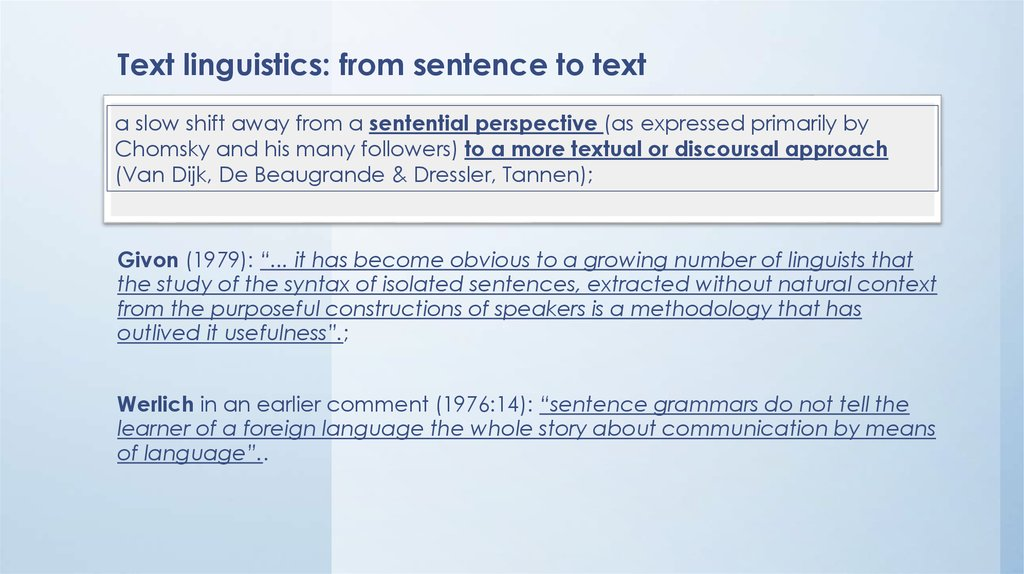 Text linguistics: from sentence to text