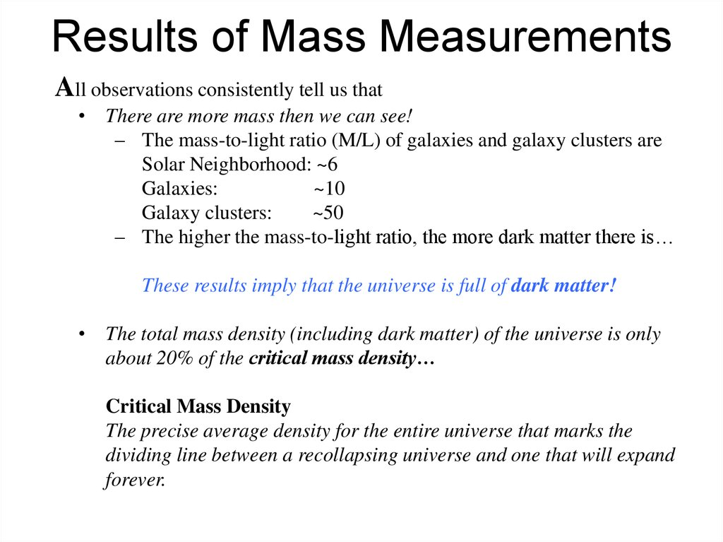 Results of Mass Measurements