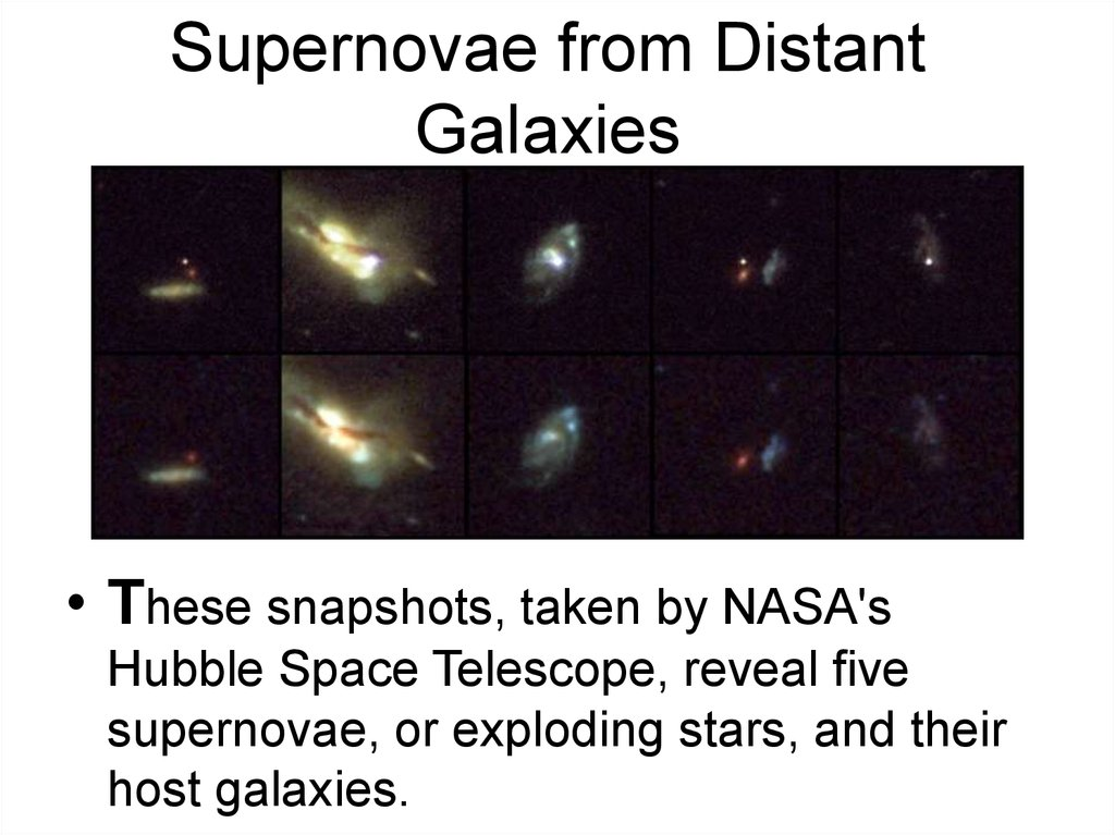 Supernovae from Distant Galaxies