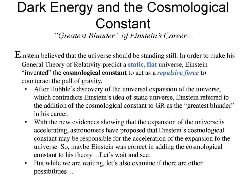 Dark Energy and the Cosmological Constant