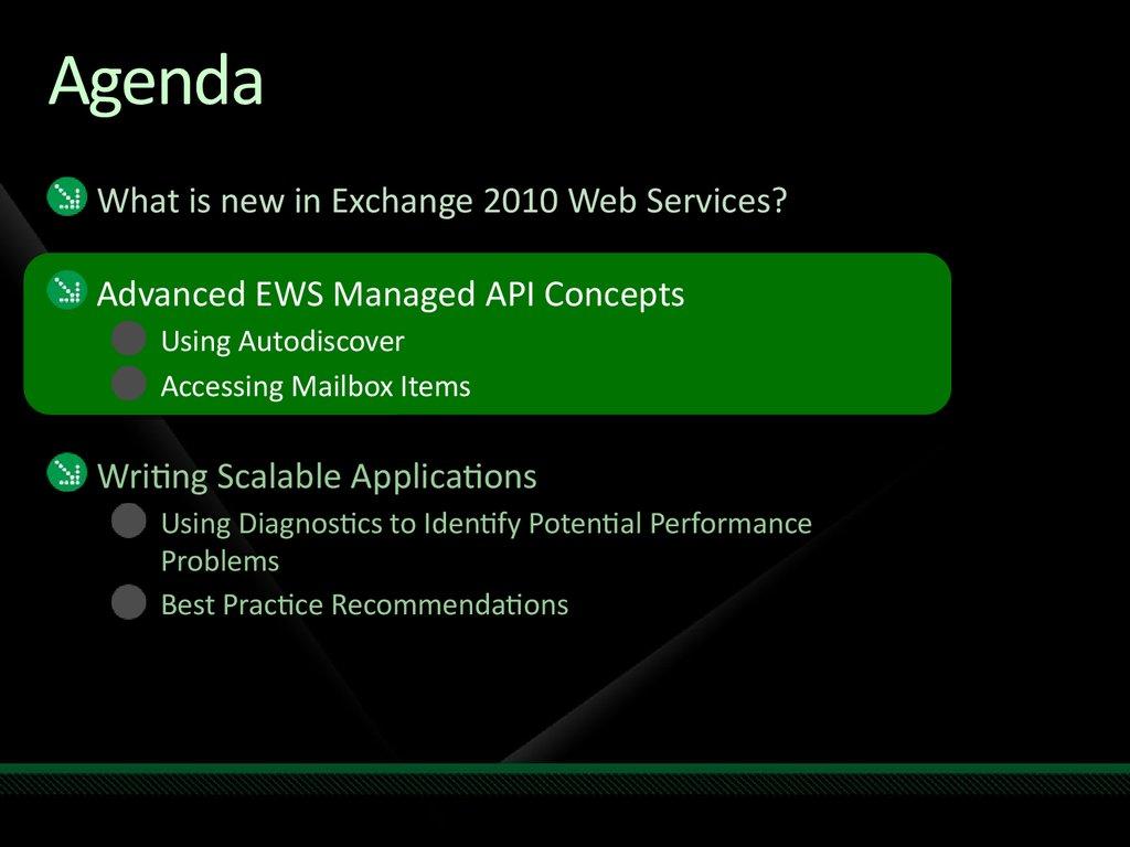 Advanced Exchange Web Services Programming - online presentation