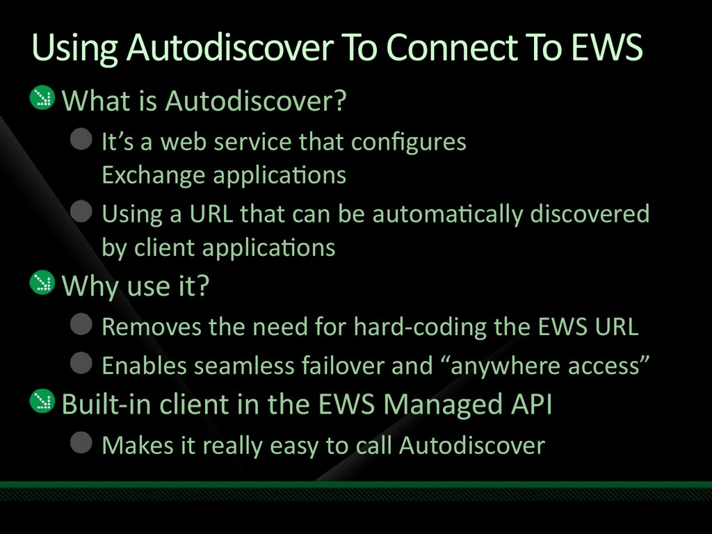Using Autodiscover To Connect To EWS