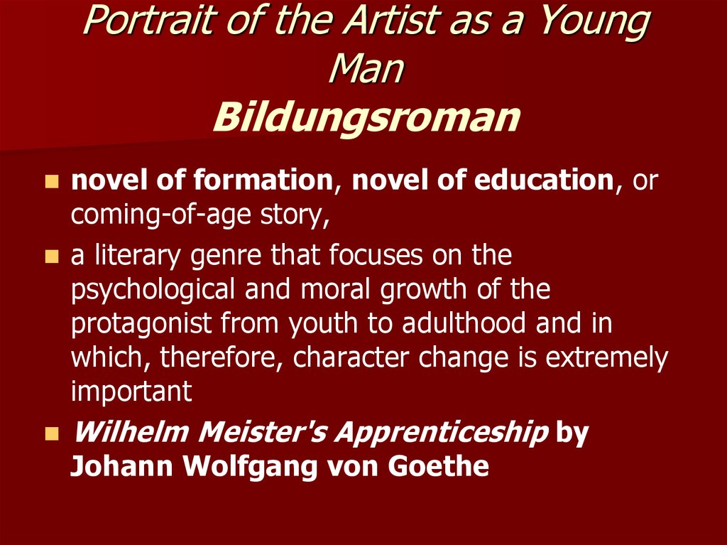 Portrait of the Artist as a Young Man Bildungsroman