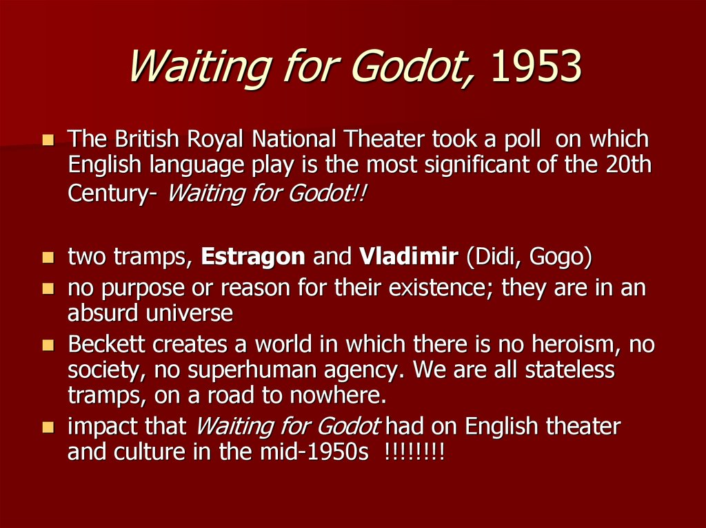 Waiting for Godot, 1953