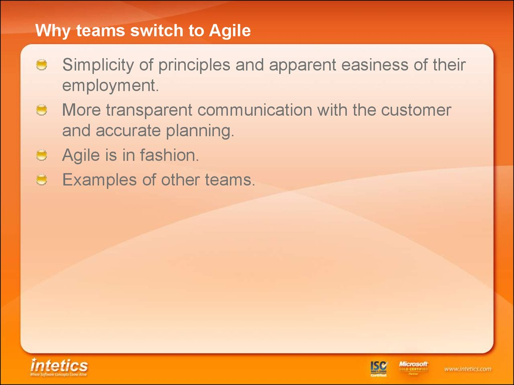 Why teams switch to Agile