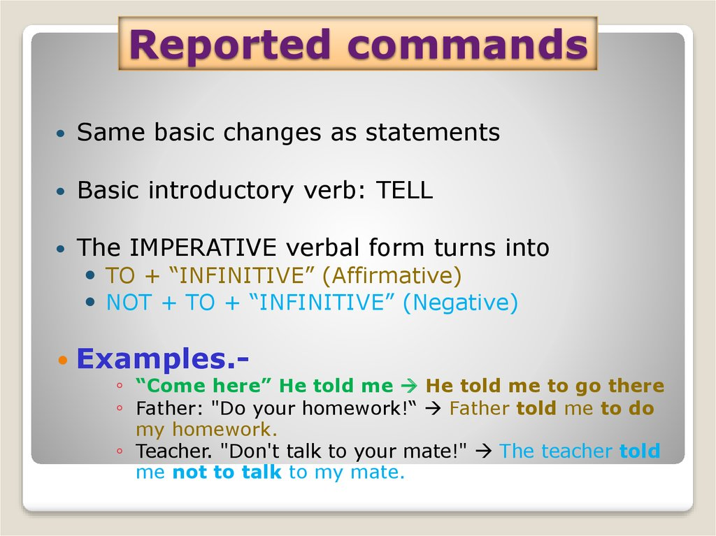 Reported commands