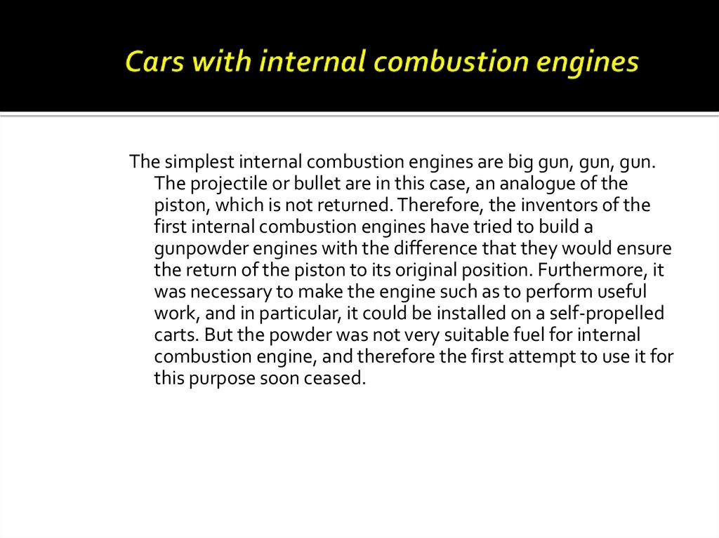 Cars with internal combustion engines