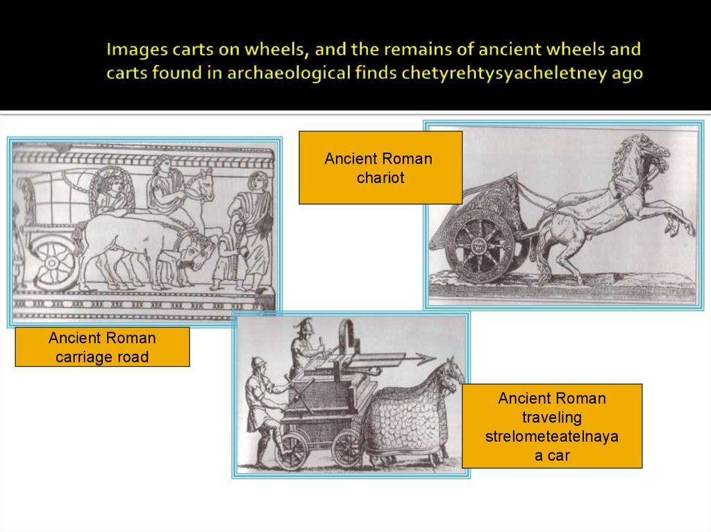 Images carts on wheels, and the remains of ancient wheels and carts found in archaeological finds chetyrehtysyacheletney ago