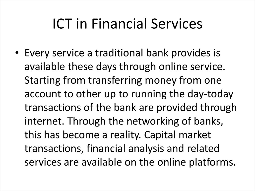 ICT in Financial Services