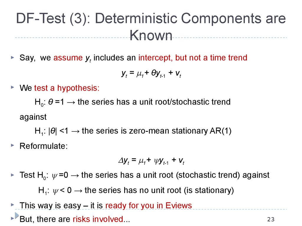 DF-Test (3): Deterministic Components are Known