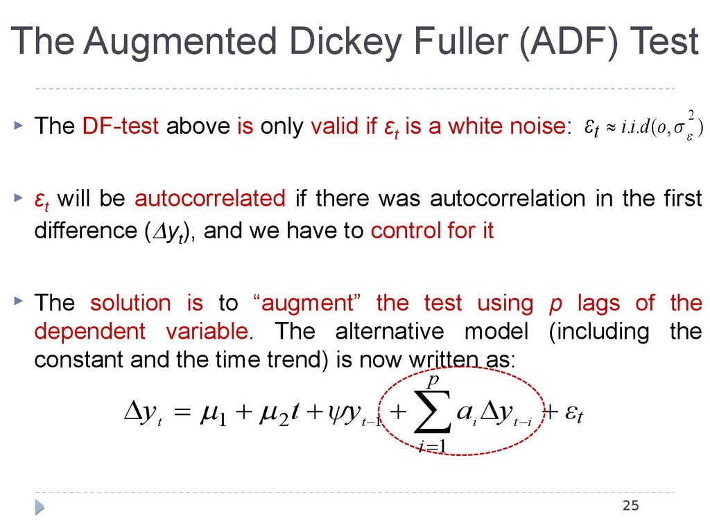 The Augmented Dickey Fuller (ADF) Test