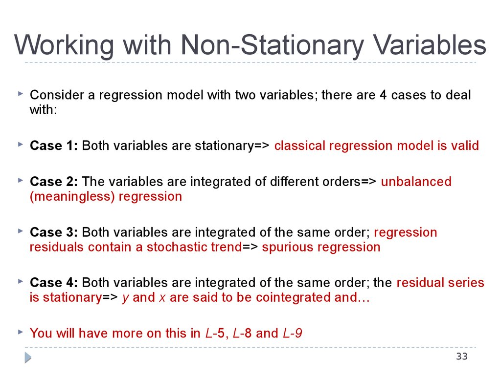 Working with Non-Stationary Variables