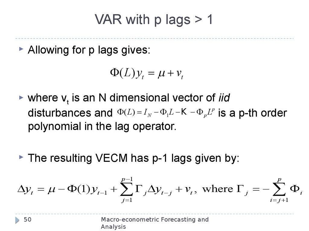 VAR with p lags > 1