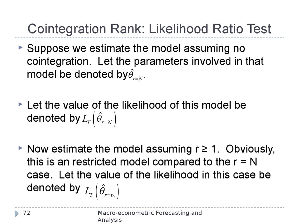 Cointegration Rank: Likelihood Ratio Test