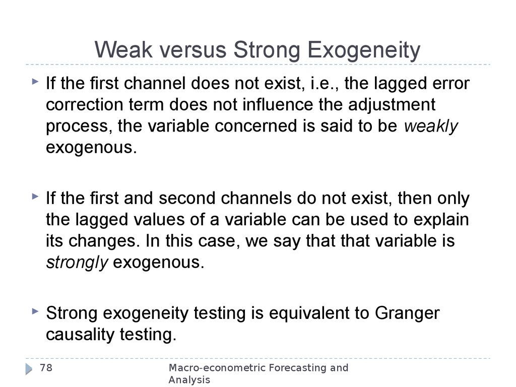 Weak versus Strong Exogeneity