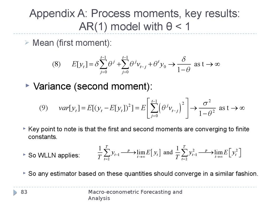 Appendix A: Process moments, key results: AR(1) model with θ < 1