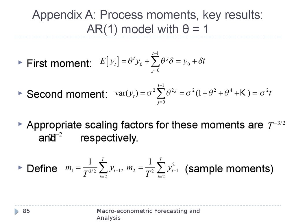 Appendix A: Process moments, key results: AR(1) model with θ = 1