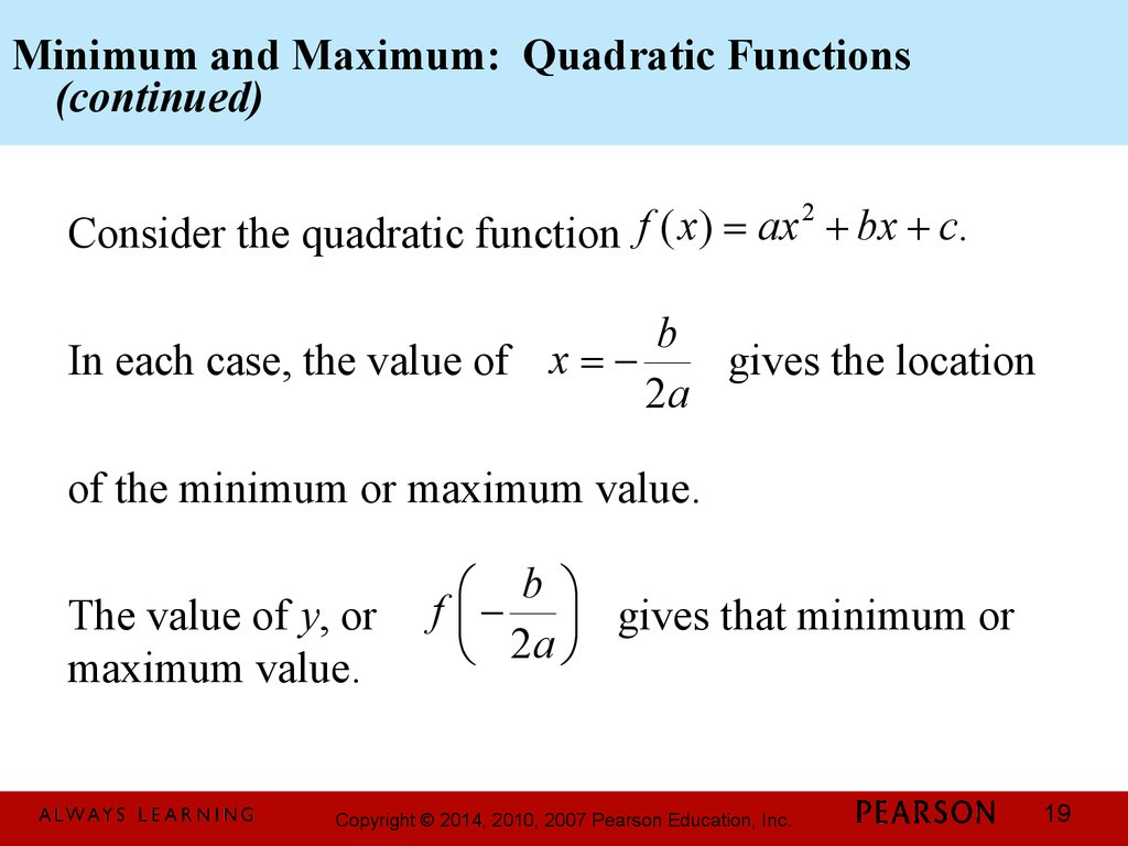 Minimum and Maximum: Quadratic Functions (continued)