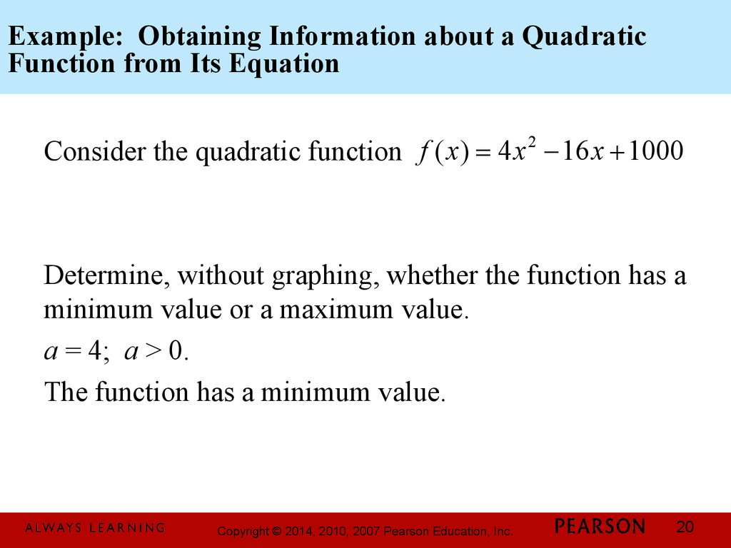 Example: Obtaining Information about a Quadratic Function from Its Equation