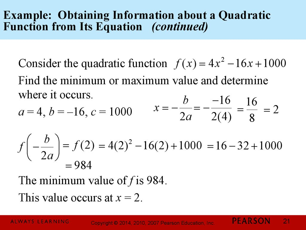 Example: Obtaining Information about a Quadratic Function from Its Equation (continued)