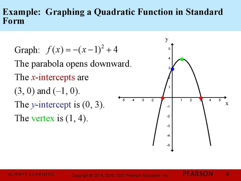 Chapter 3. Polynomial and Rational Functions. 3.1 ... Quadratic Function In Standard Form Examples