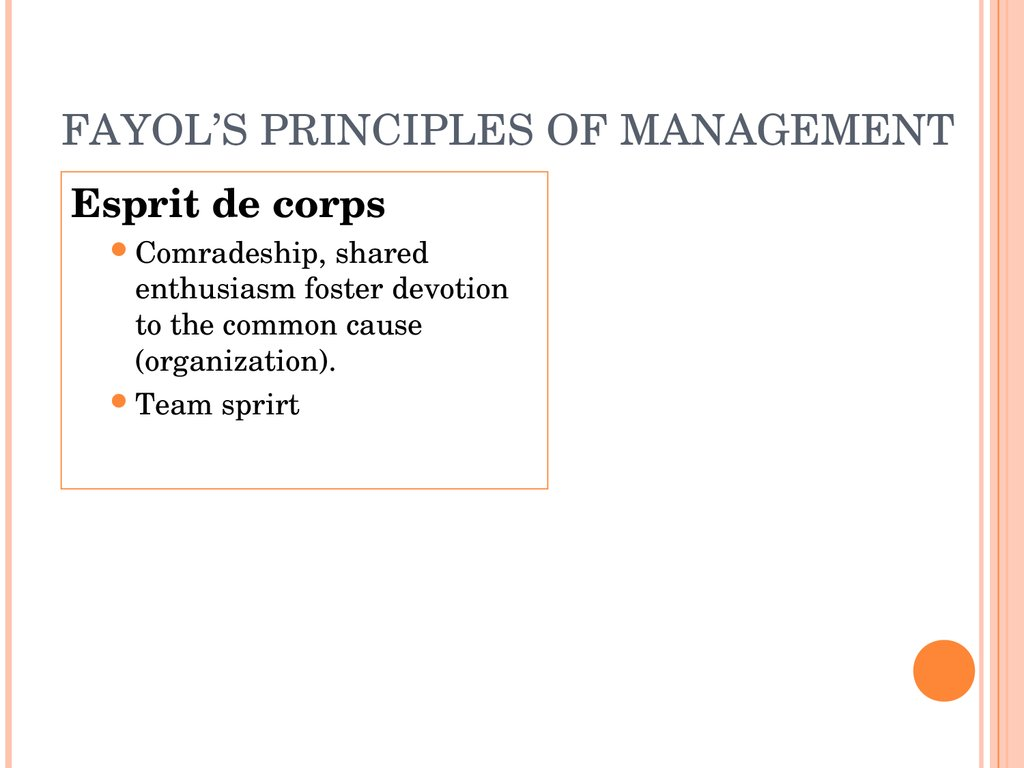 fayols principles Henri fayol (born 1841 in istanbul died 1925 in paris) was a french management theorist henri fayol was one of the most influential contributors to modern concepts of management, having proposed that there are five primary functions of management.