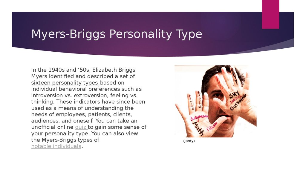 myers brigg The myers-briggs type indicator, which often goes by its initials, mbti, is a career assessment instrument it is one of the tools career development professionals can use to learn about their clients' personality types and is a component of a complete self assessment when used along with tools.