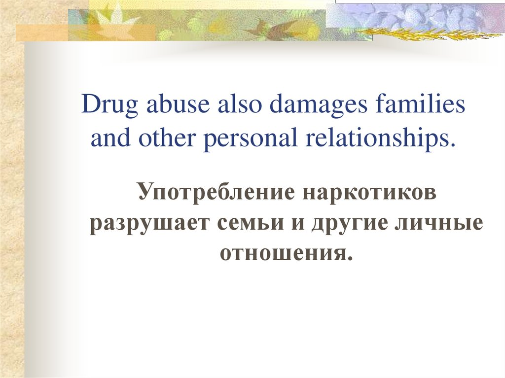 Drug abuse also damages families and other personal relationships.