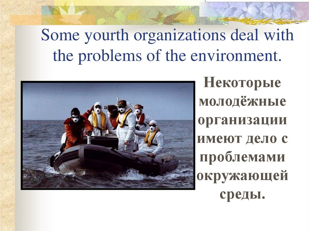 Some yourth organizations deal with the problems of the environment.