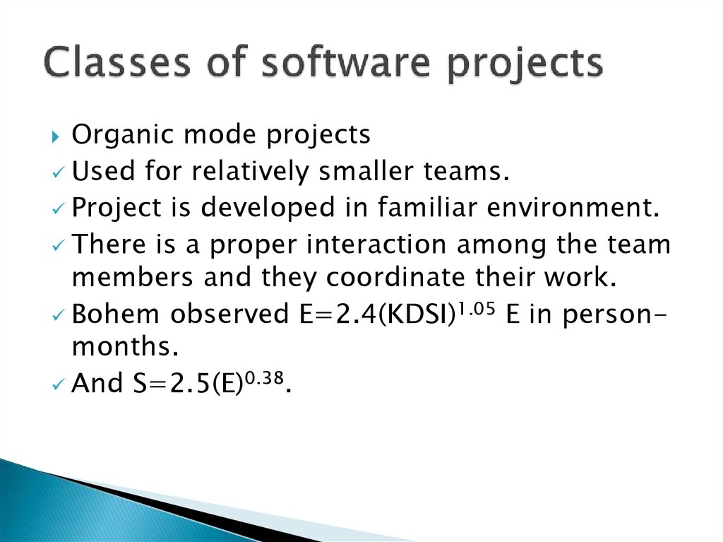 Classes of software projects
