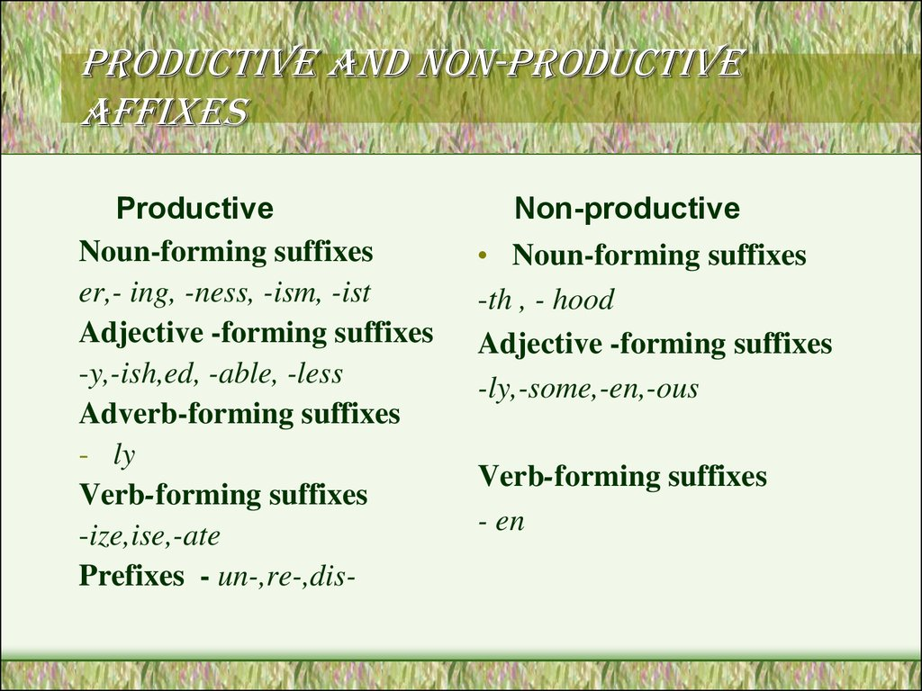 Productive and non-productive affixes