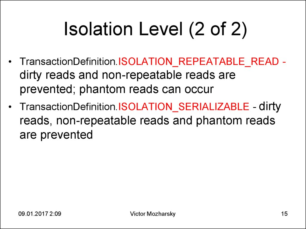 Isolation Level (2 of 2)