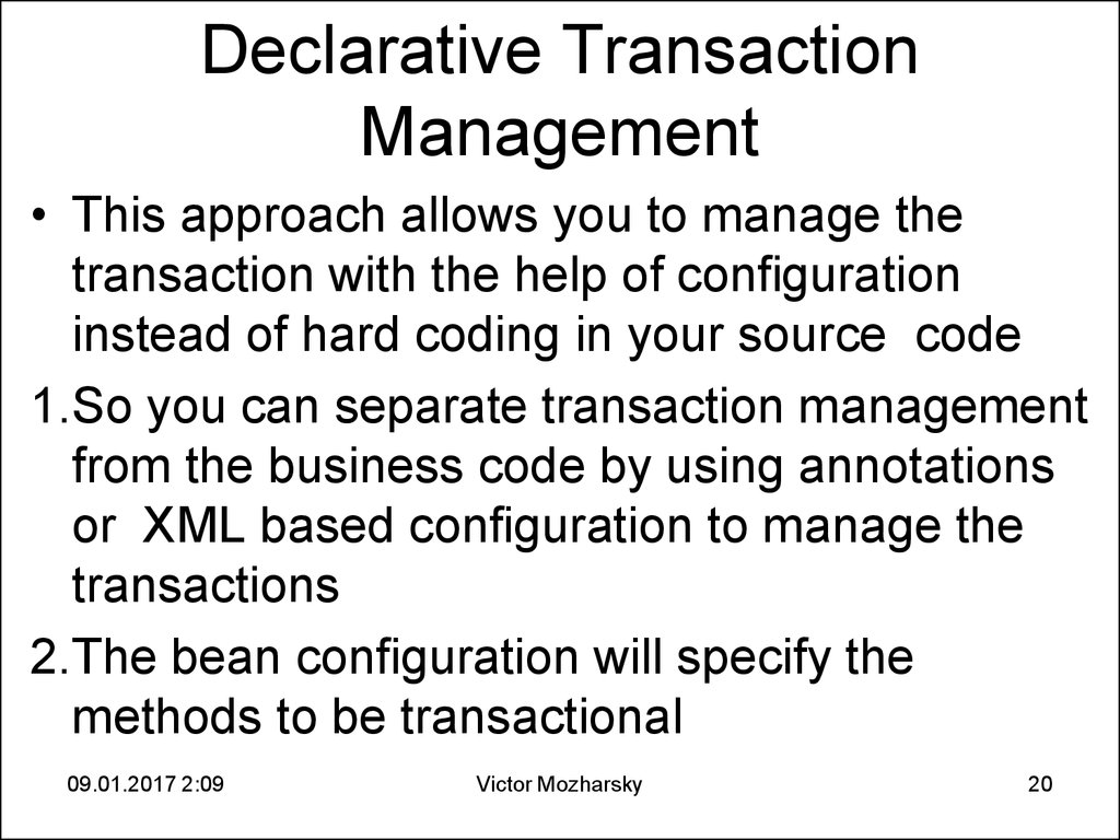 Declarative Transaction Management