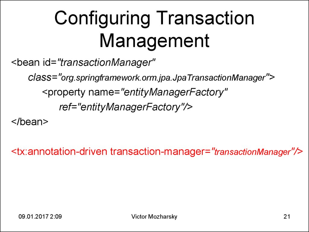 Configuring Transaction Management