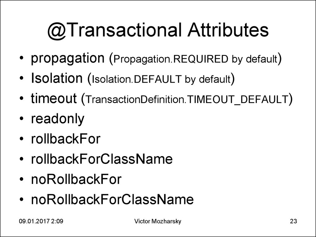 @Transactional Attributes