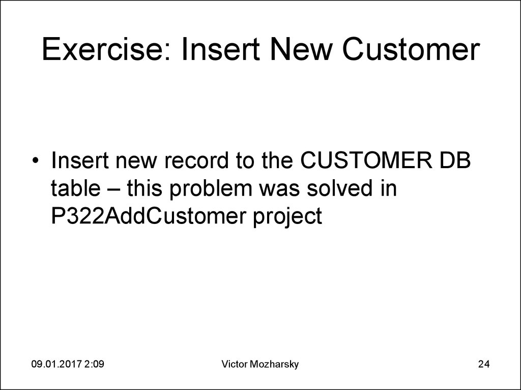 Exercise: Insert New Customer