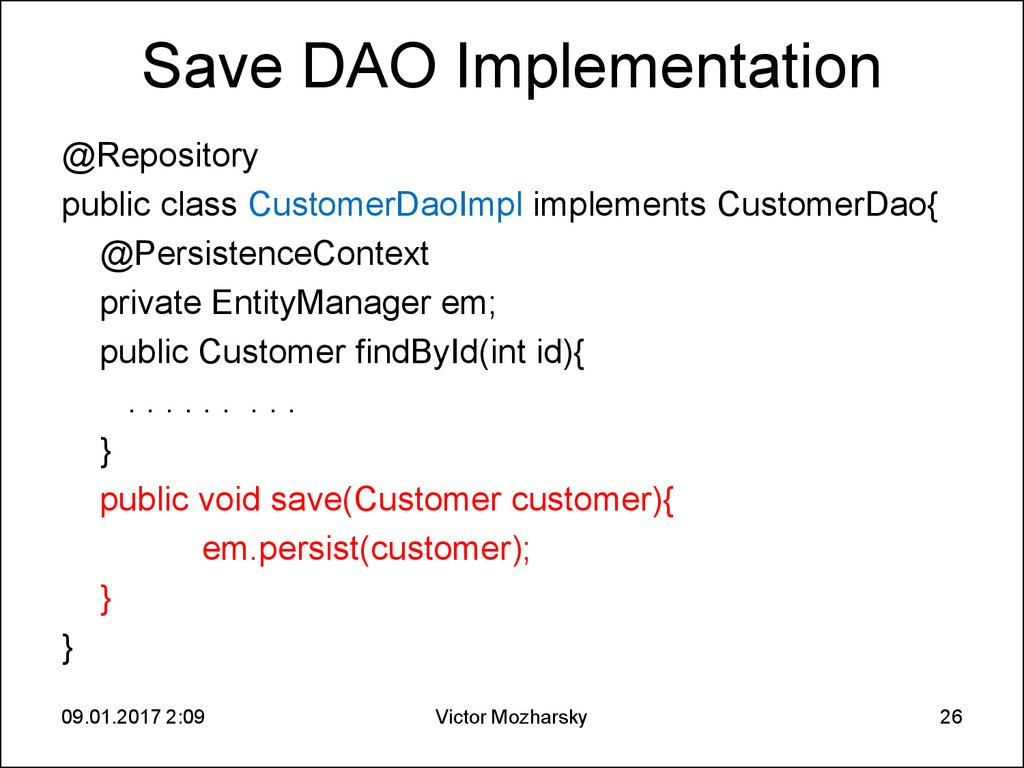 Save DAO Implementation