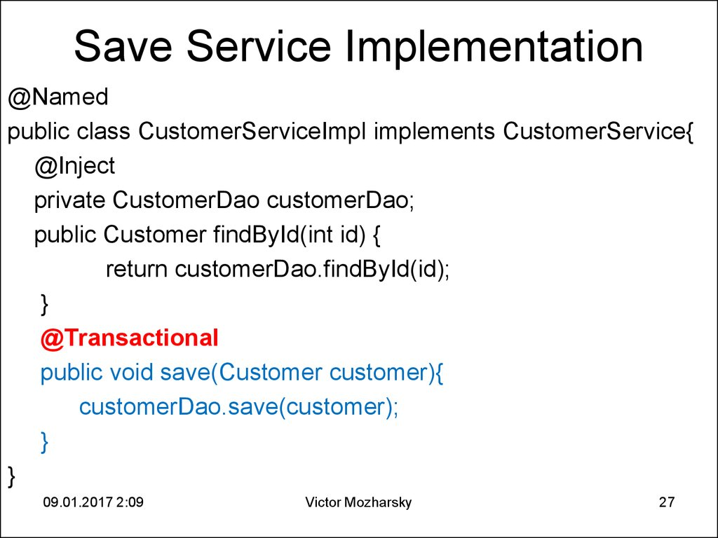 Save Service Implementation