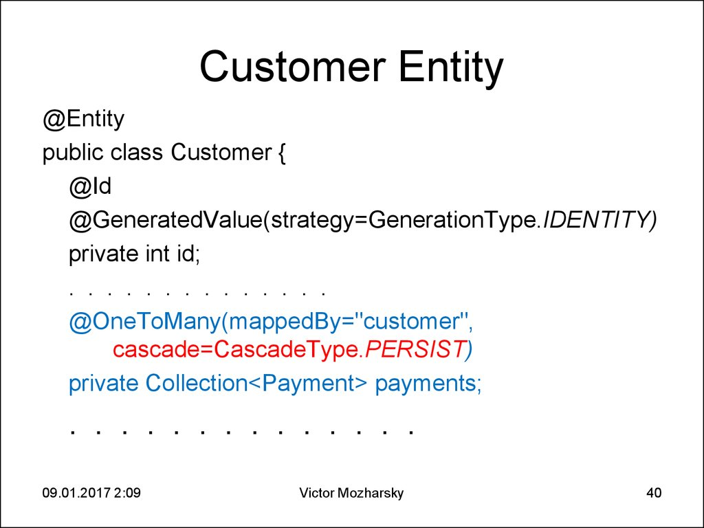 Customer Entity