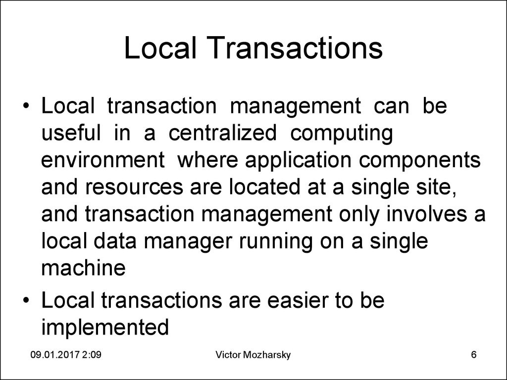 Local Transactions