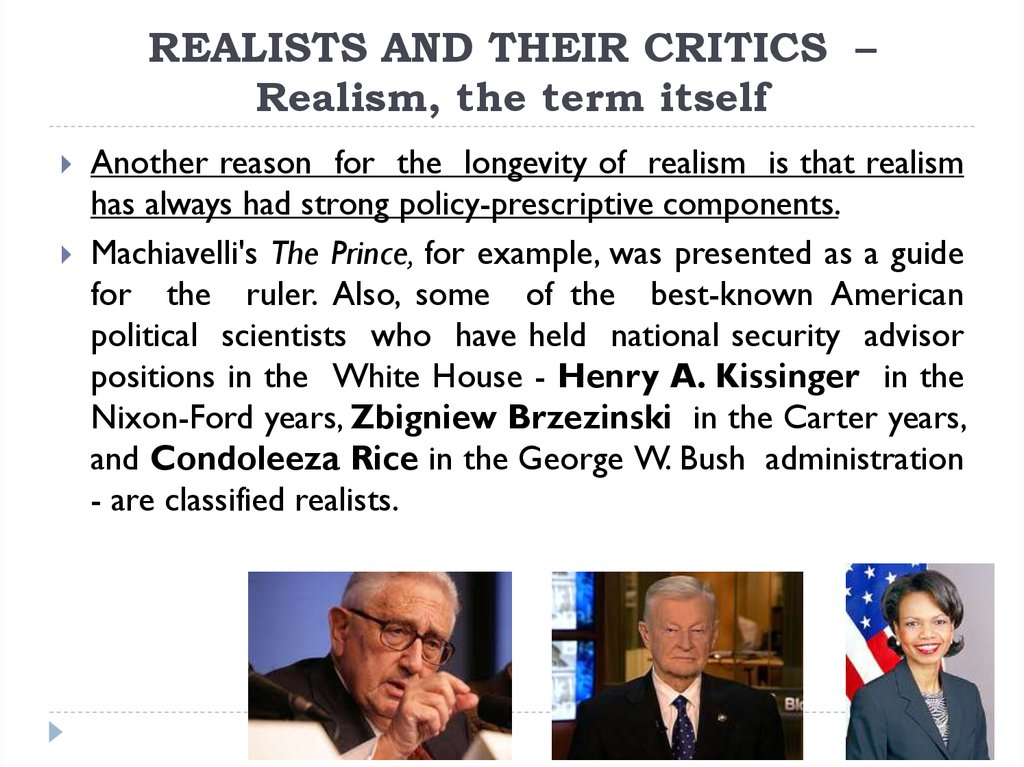 REALISTS AND THEIR CRITICS – Realism, the term itself
