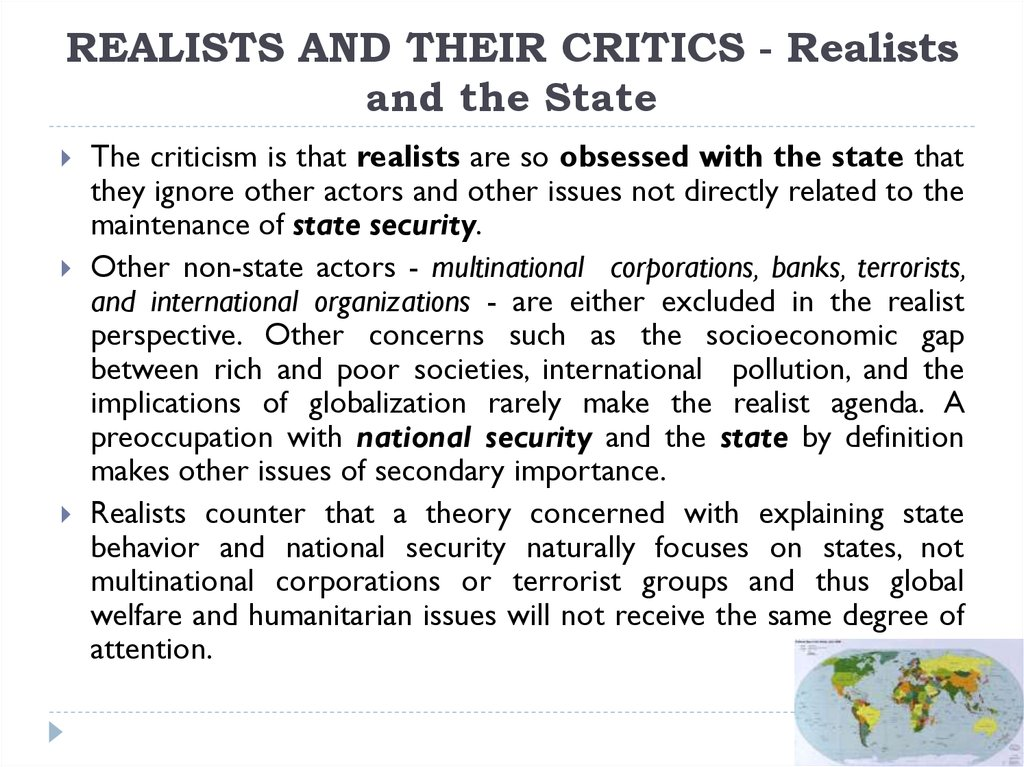 REALISTS AND THEIR CRITICS - Realists and the State