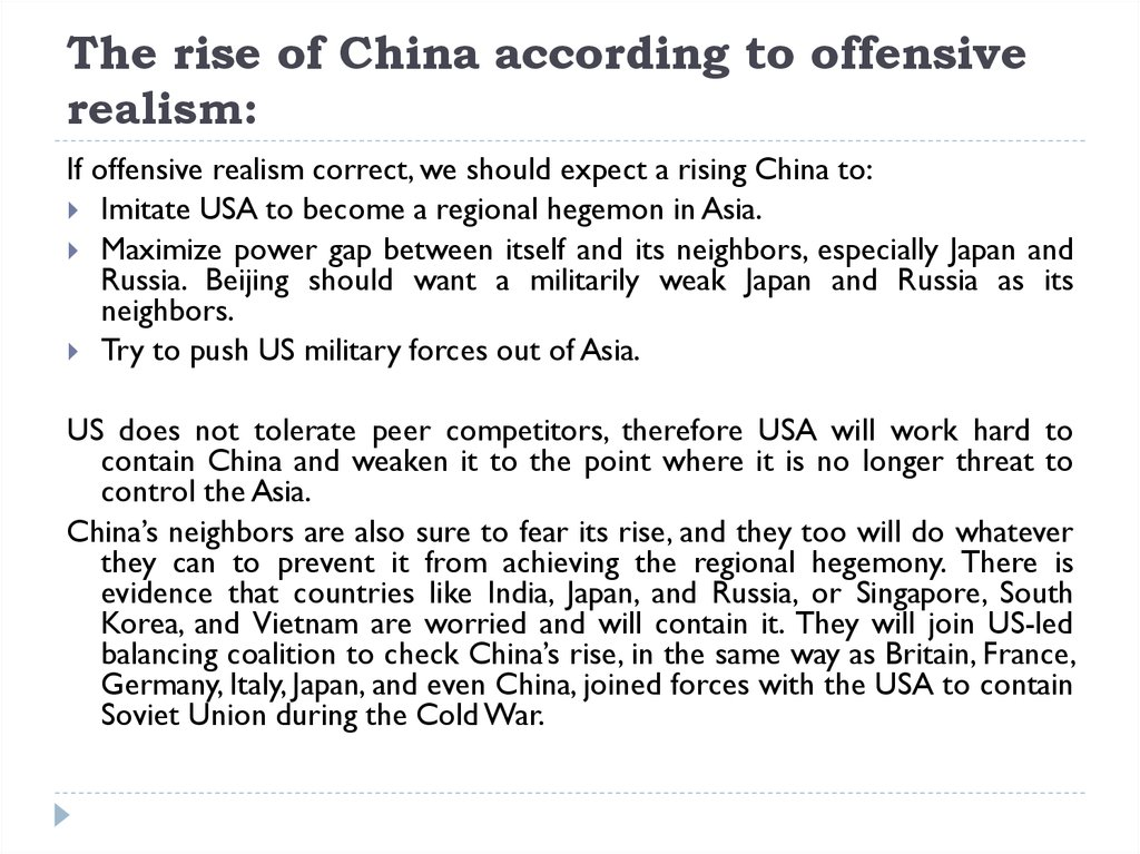 The rise of China according to offensive realism:
