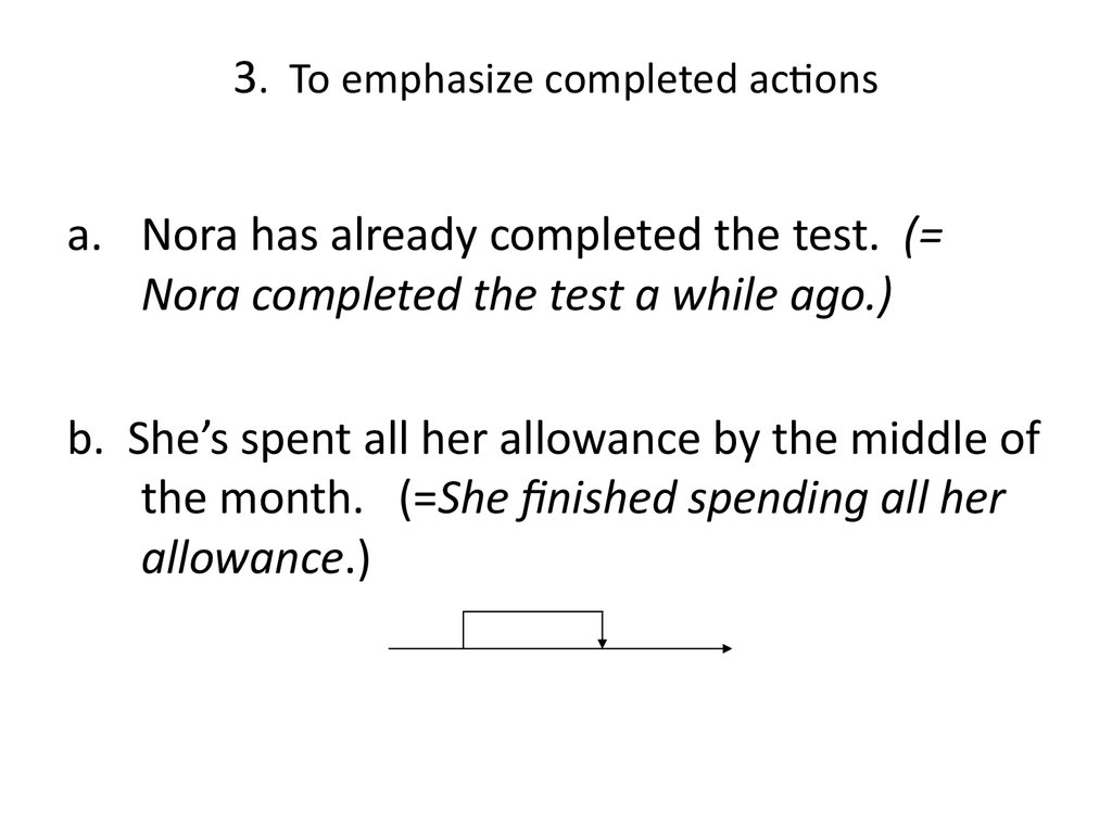 3. To emphasize completed actions